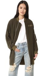 R 13 X Oversized Flight Jacket Olive