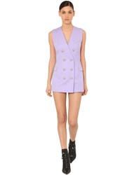 Balmain Double Breast Grain De Poudre Mini Dress Lilac
