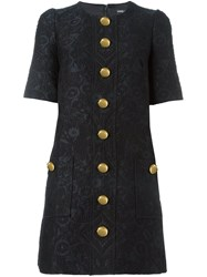 Dolce And Gabbana Brocade Buttoned Dress Black