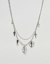 Asos Design Vintage Style Layered Charm Multirow Necklace Antique Silver