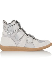 Maison Martin Margiela Metallic Suede Mesh And Patent Leather High Top Sneakers
