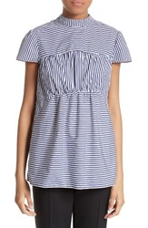 Erdem Women's Back Bow Stripe Cotton Blouse