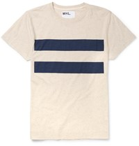 Margaret Howell Mhl Slim Fit Striped Cotton And Linen Blend T Shirt Neutrals