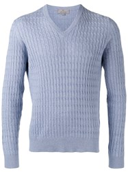 Canali Textured V Neck Sweater Blue