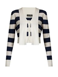 Dolce And Gabbana Striped Cashmere Silk Blend Cardigan Blue Stripe
