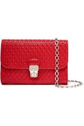 Tod's Woman Embossed Patent Leather Shoulder Bag Red