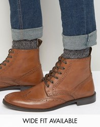 Asos Wide Fit Brogue Boots In Tan Leather Tan