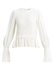 Khaite Shirred Bishop Sleeve Crepe Top Ivory