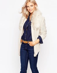 Oasis Faux Fur Trim Detail Cardigan Ivory
