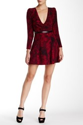 The Kooples Genuine Leather Trim Python Print Silk Dress Red