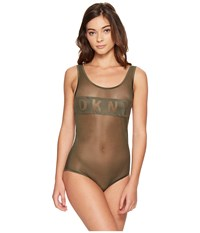 Dkny Blocked Logo Bodysuit Military Women's Jumpsuit And Rompers One Piece Olive