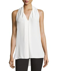 Max Studio Pleated V Neck Tank Ivory