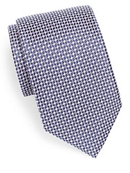 Saks Fifth Avenue Black Micro Check Silk Tie Purple