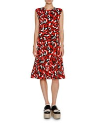 Marni Shatter Print Sleeveless Dress Red Geo