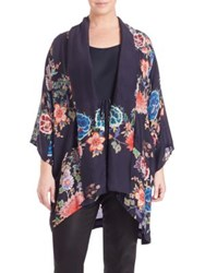 Johnny Was Plus Size Gail Floral Print Kimono Navy Multi