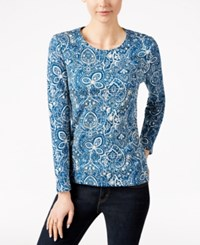 Charter Club Paisley Print Long Sleeve Top Only At Macy's Cerulean Night Combo