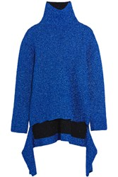 Balenciaga Draped Knitted Lame Turtleneck Sweater Blue