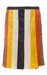 Alexis Mabille Multi Colored Ribbon Skirt Blue White Yellow