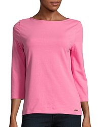 Imnyc Isaac Mizrahi Patterned Stretch Cotton Top Bright Pink