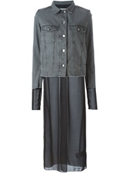 Mm6 Maison Margiela Chiffon Long Layer Denim Jacket Grey