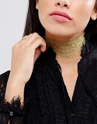 Johnny Loves Rosie Festival Gold Lace Choker Necklace Silver Gold
