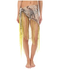 Roberto Cavalli Python Pareo Cover Up Acid Lemon Women's Swimwear Multi