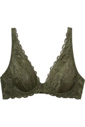Cosabella Never Say Never Candie Stretch Lace Underwired Plunge Bra Army Green