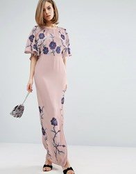 Asos Premium Maxi Dress With Embroidery Lilac Purple