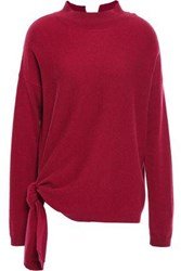 Charli Woman Knotted Wool And Cashmere Blend Sweater Claret