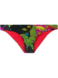 La Doublej Tropical Print Hip Briefs Green