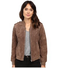 Blank Nyc Suede Bomber Jacket In Midnight Toker Camel Women's Coat Tan
