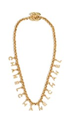Wgaca What Goes Around Comes Around Chanel Letters Charm Necklace Gold