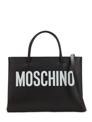 Moschino Logo Printed Leather Shoulder Bag Black