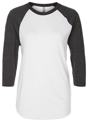 American Apparel Poly Long Sleeved Top White Heather Black