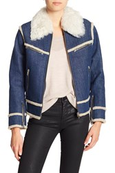 Rag And Bone Andrew Genuine Dyed Lamb Shearling Collar Trim Lined Denim Jacket Indigo