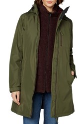 Helly Hansen 'Belfast' Long Waterproof Winter Rain Jacket Ivy Green