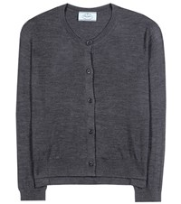 Prada Virgin Wool Cardigan Grey
