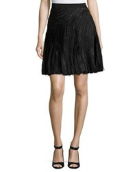 Halston Engineered Strips Flared Skirt Black