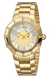 Roberto Cavalli Women's By Franck Muller Rotating Dial Bracelet Watch 37Mm Gold White Mother Of Pearl