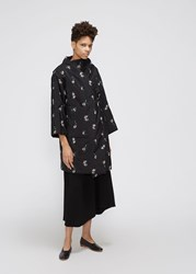 Ms Min 'S Peach Emroidered Wrap Jacket In Black Size 2 Wool Silk Cupro Lining