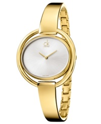 Calvin Klein Women's Swiss Impetuous Gold Pvd Stainless Steel Bangle Bracelet Watch 40Mm K4f2n516