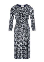 Austin Reed Spot Print Twist Detail Dress Blue
