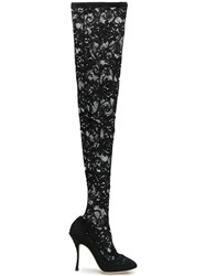 Dolce And Gabbana Lace Over Knee Boots Black