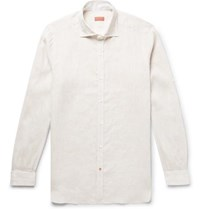 Isaia Slim Fit Slub Linen Shirt Cream