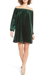One Clothing Women's Off The Shoulder Velvet Swing Dress Emerald