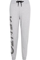 Kenzo Printed Cotton Jersey Track Pants Light Gray