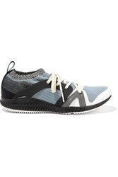 Adidas By Stella Mccartney Crazytrain Pro Mesh And Stretch Knit Sneakers Blue