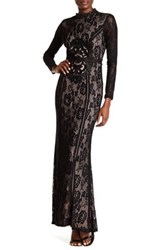City Triangles Long Sleeve Lace Gown Black