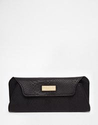 Lipsy Clutch In Black Snake With Magnetic Fastening Bk1