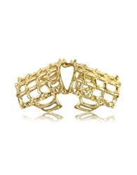 Bernard Delettrez Cage And Studs Articulated Bronze Ring Gold